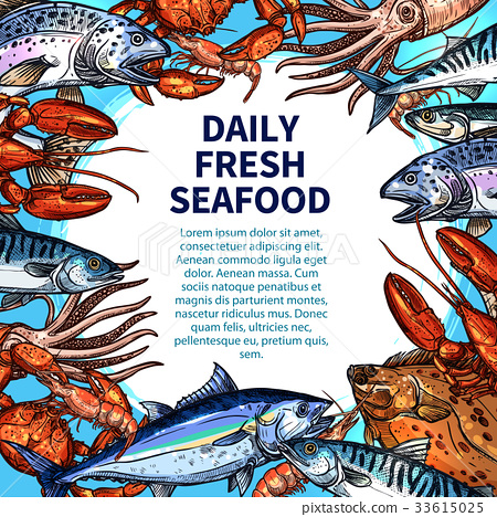 Vector poster for seafood or fish food market 33615025