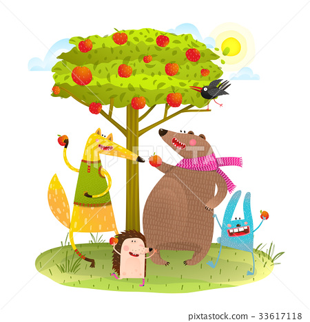 Baby Animals Friends and Apple Tree. 33617118