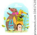 hedgehog, rabbit, fox 33617120