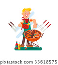 Cheerful man cooking steak on the barbecue grill 33618575