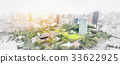 Japan city view & hand drawn sketch illustration 33622925