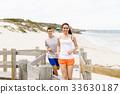 beach, couple, jogger 33630187