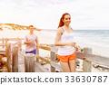 beach, couple, jogger 33630787