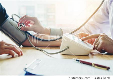 Doctor Measuring arterial blood pressure patient  33631876