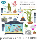 Aquarium appliance icon set flat style isolated  33633099