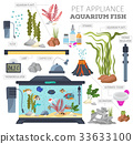Aquarium appliance icon set flat style isolated  33633100