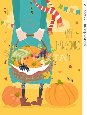 Girl holding basket with vegetables 33633112