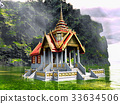 Buddhist temple in mountains 3d rendering 33634506
