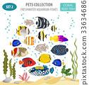 Freshwater aquarium coral  fish icon set  33634686