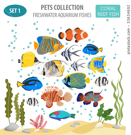 Freshwater aquarium coral  fish icon set  33634692