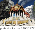 Buddhist temple in mountains 3d rendering 33636972