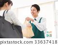 แคชเชียร์บริการลูกค้าบรรจุถุงเสมียนร้านสะดวกซื้อ 33637418
