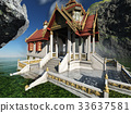 Buddhist temple in mountains 3d rendering 33637581
