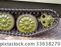 Tank tracks and steel wheels huge green panzer 33638270