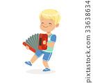 Cute little boy playing accordion, young musician 33638634