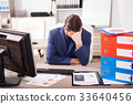 Young corporate worker depressed from the workload 33640456