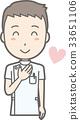 白衣を着た男性看護師が胸に手を当てて笑っているイラスト 33651106
