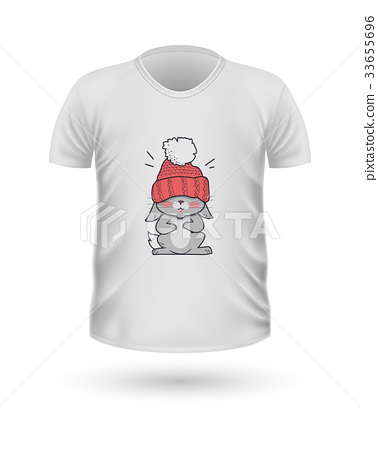 T-shirt Front View with Animals Isolated on White 33655696