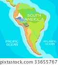 South America Map with Natural Attractions 33655767