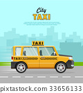 Yellow Taxi with Checker on the Road in City. 33656133