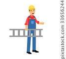 Male construction worker character carrying a 33656244