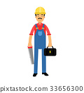 Male construction worker character standing with 33656300