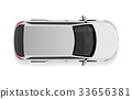 White Car from Top View Vector Illustration. 33656381