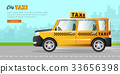 Yellow Taxi with Checker on the Road in City. 33656398