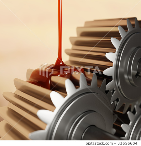Pouring Lubricant on Gears 3d Illustration 33656604