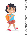 Girl Going in for School with Rucksack Isolated 33660459