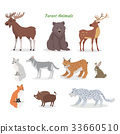 Forest Animals Set. Wildlife Characters. Vector 33660510