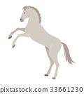 Rearing Grey Horse Illustration in Flat Design 33661230