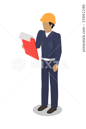 Dock Worker man with Clip Board Makes Inspection 33661286