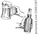 Beer glass, mug or bottle of oktoberfest. engraved 33661387