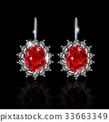 Golden earrings with ruby and diamonds 33663349