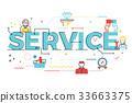 Service word lettering illustration 33663375