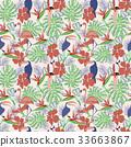 toucan, vector, hibiscus 33663867