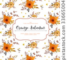 Vector floral card Autumn orange flower leaves 33665004