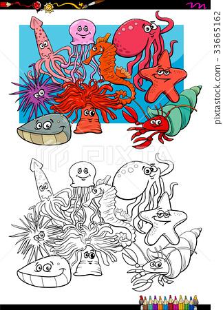 sea life animal characters coloring book 33665162