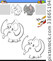 drawing and coloring worksheet with elephant 33665194