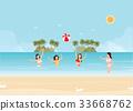 Bikini woman play volleyball in the sea 33668762