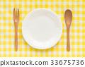 접시 수저 체크 무늬 숟가락 포크 나무 33675736
