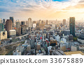 aerial view of osaka skyline cityscape at sunset 33675889