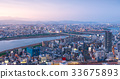 panoramic view of Osaka city with Yodo river 33675893