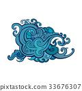 vector sea wave 33676307