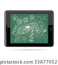 e-learning concept. Tablet  with biology sketches 33677052