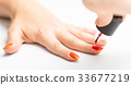 nail painting with red lacquer 33677219