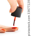 nail painting with red lacquer 33677220