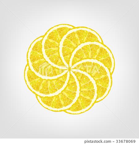 Vector illustration of round from lemon slice 33678069