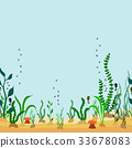 Vector seamless border of seabed with seaweed 33678083